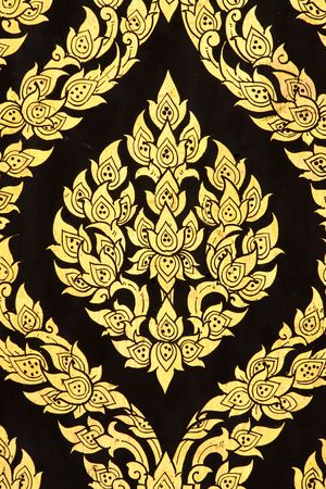 thai style: Flower painting in traditional Thai style art