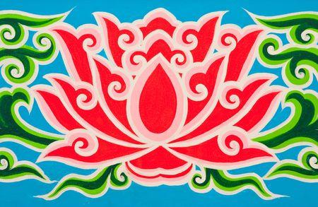 church flower: Lotus in stile tailandese tradizionale pittura