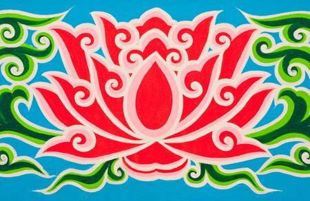 Lotus in Thai traditional painting style photo