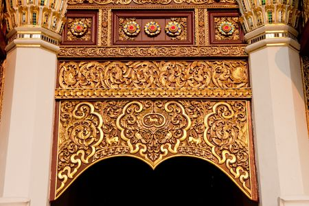 thai style: Gate decoration in Northern Thai style architecture Stock Photo