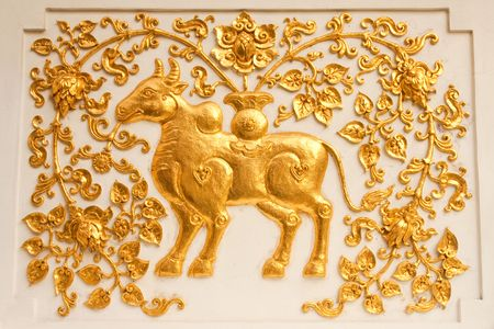 Cow in traditional Thai style molding art Stock Photo - 4689007