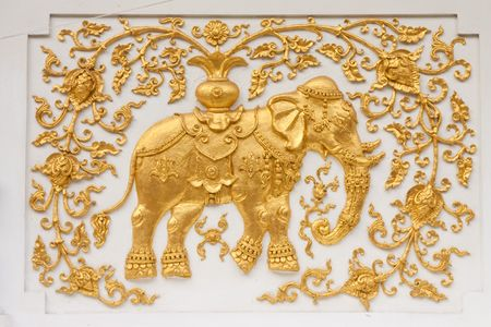 Elephant in traditional Thai style molding art Stock Photo