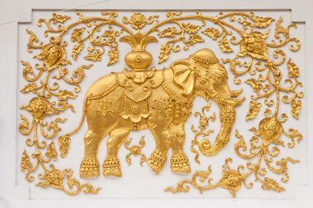 thai style: Elephant in traditional Thai style molding art Stock Photo