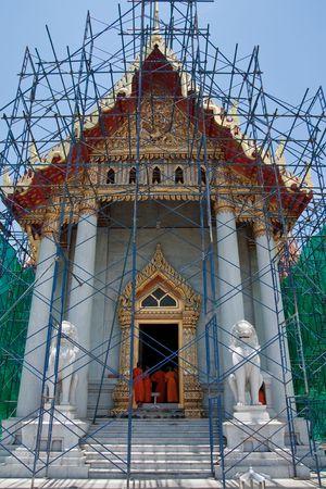 The repairing of marble temple, Wat Benjamaborphit, Bangkok, Thailand photo
