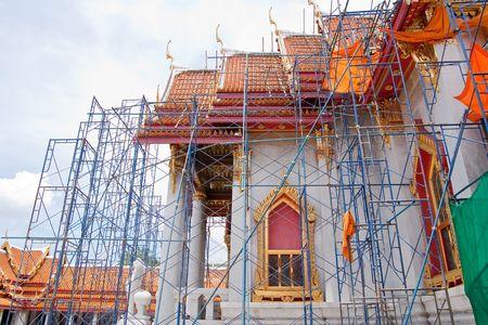 repaint: The repairing of marble temple, Wat Benjamaborphit, Bangkok, Thailand