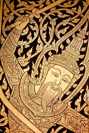 Traditional Thai style painting on wall  photo