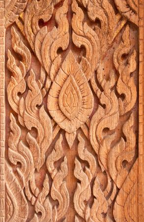 Traditional Thai style wood carving Stock Photo