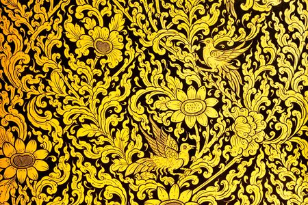 thai style: Flower in traditional Thai style paingting art