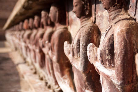 ruination: Buddha images in the historical park of Sukhothai province, Thailand.