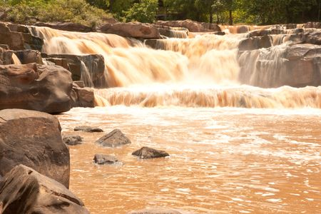 turbid: Turbid water of tropical waterfall after hard rain