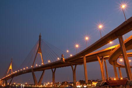 Industry Circle Bridge, Bangkok, Thailand at twilight photo