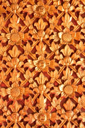 Flower in traditional Thai style wood carving Stock Photo - 4838934