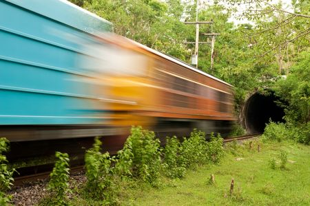 locomotion: Train running into tunnel