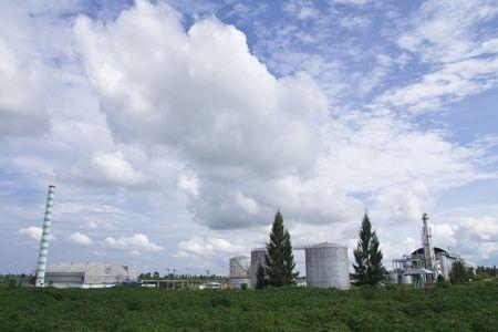 ethanol: Ethanol factory in cassava field, Thailand