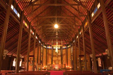 thialand: Biggest catholic wood church in Thailand, Yasothorn province, Thialand Stock Photo