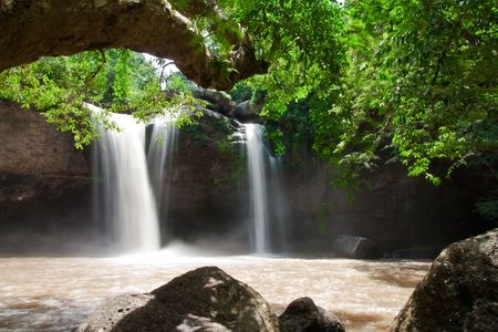Haew Suwat, tropical waterfall in Kao Yai national park, Thailand photo