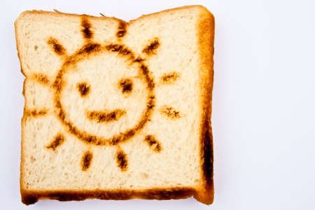 Toast with smiling sun burn photo