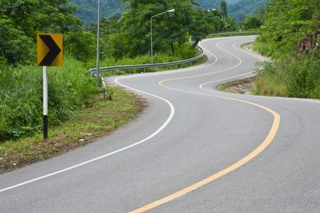 hilly: Bends of road, eastern Thailand Stock Photo