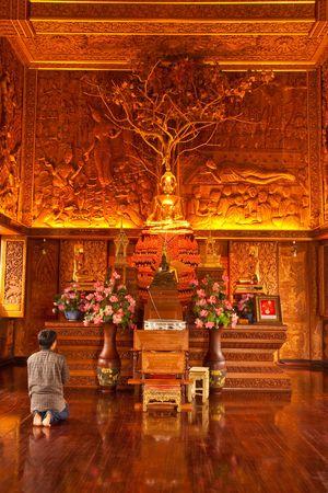 teak: Inside of wholly teak wood church in Thailand