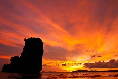 Sunset at Ao Nang bay, south of Thailand Stock Photo - 5609976