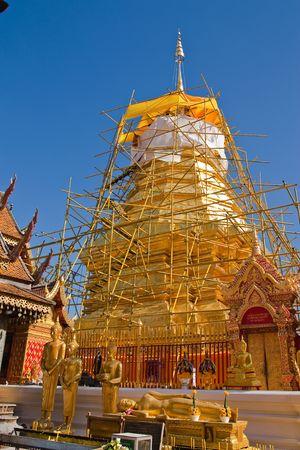 reconstruct: Repairing of famous old pagoda, Wat Phra That Doi Suthep, Chiang Mai, Thailand Stock Photo