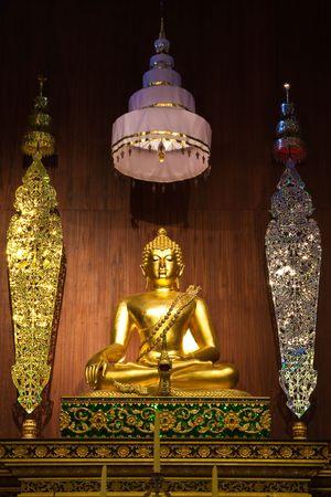 buddha image: Buddha image in Wat Phra Kaew, Chiang Rai province, Thailand