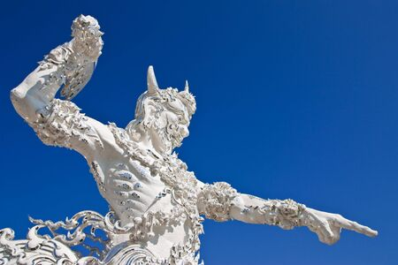 nether: Decoration of famous white church, Wat Rong Khun, Chiang Rai province, Thailand