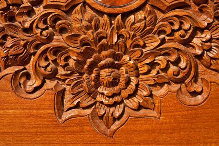 wood carving: Thai style teak wood engraving Stock Photo