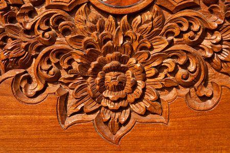 Thai style teak wood engraving Stock Photo
