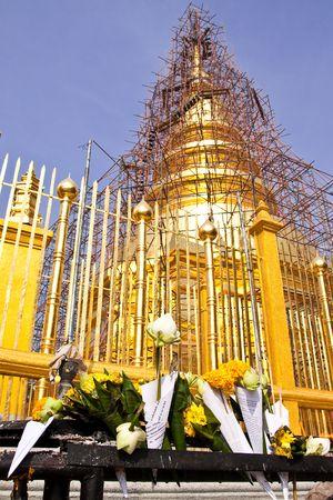 reconstruct: Repairing of famous pagoda, Wat Phra Thai Hariphunchai, north of Thailand