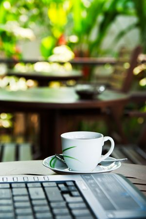 Coffee cup and notebook keyboard Stock Photo - 6753564