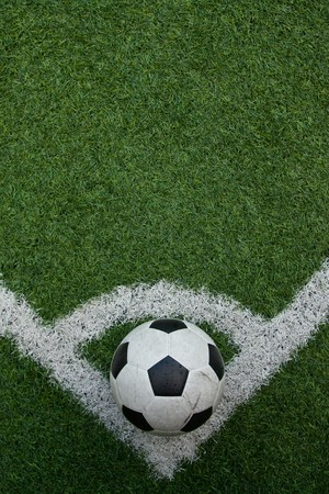 goal line: Artificial grass soccer field