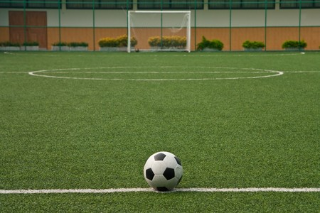 soccer net: Artificial grass soccer field