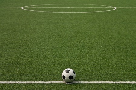 Artificial grass soccer field photo