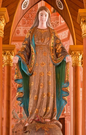 mother god: Holy Marry statue, all body decorated with real gems  Stock Photo