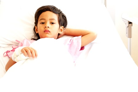 Young boy in hospital bed Stock Photo - 8020317