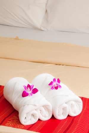 Cattleya orchid on native Thai style cloth Stock Photo - 7650609