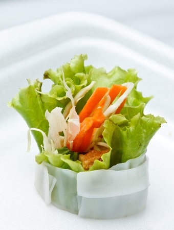 Vietnamese style food, vegetable rolled with white noodle Stock Photo - 8476395