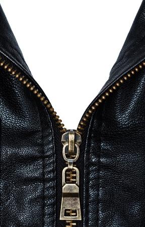 zip: Metal zip and artificial leather coat