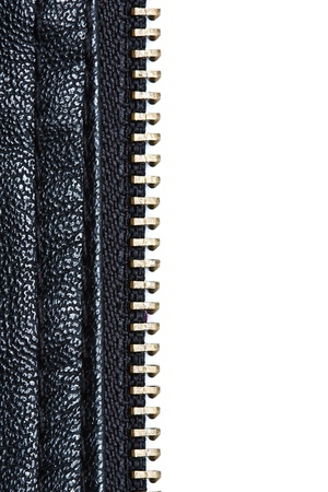 Zip on artificial leather cloth Stock Photo