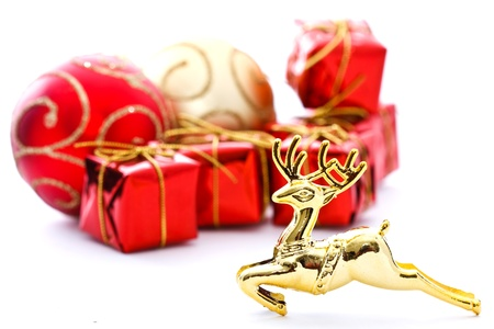 Red present boxes and gold deer photo