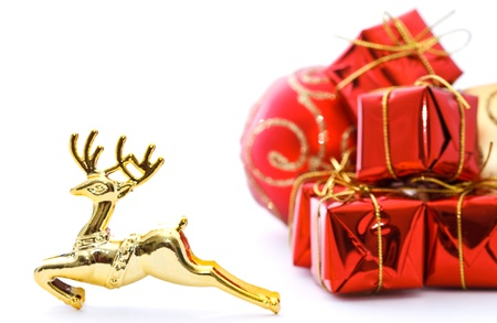 Golden deer and colorful background photo