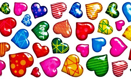 Colorful hearts on white background Stock Photo - 8582620