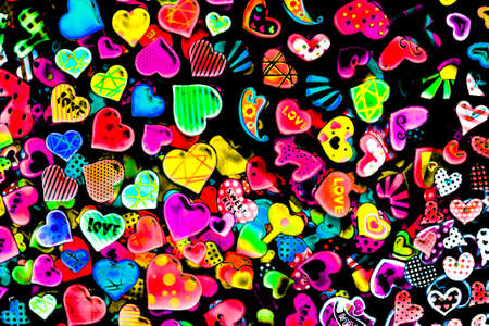 happiness concept: Colorful hearts