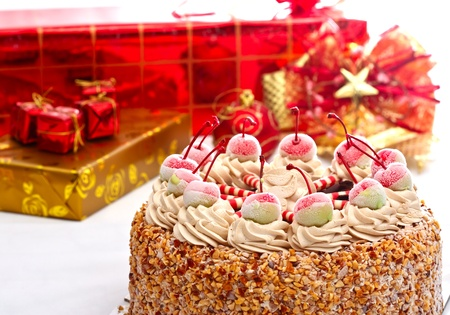 Cake and gift boxes photo