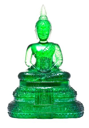 buddha image: Native Thai style Buddha image made from green glass