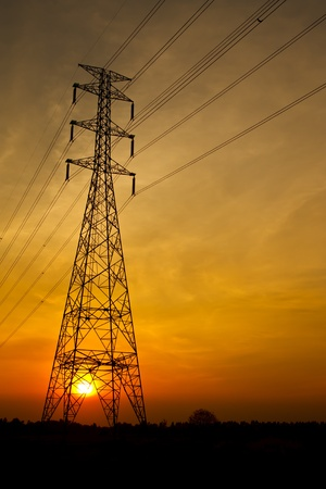 High votage electric pillar at sunset Stock Photo - 9249710