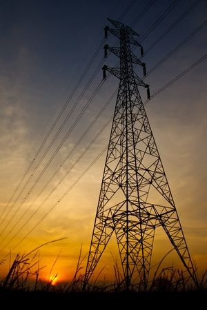 High votage electric pillar at sunset Stock Photo - 9249711