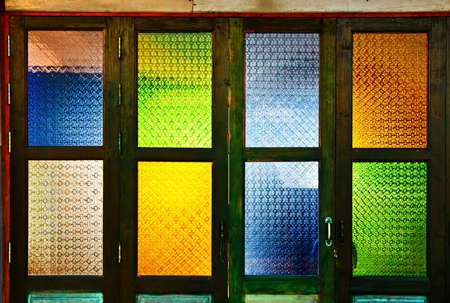 Colorful glass windows in Thai style Stock fotó