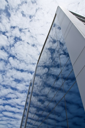 Blue sky on office building